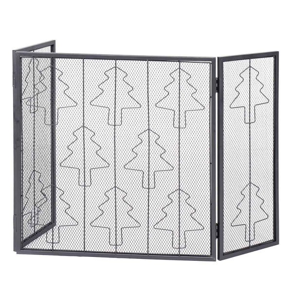Goplus Folding 3 Panel Steel Fireplace Screen Doors Heavy Duty Christmas Tree Decor 3