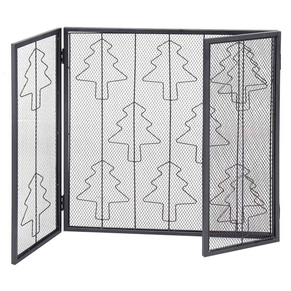 Goplus Folding 3 Panel Steel Fireplace Screen Doors Heavy Duty Christmas Tree Decor 4