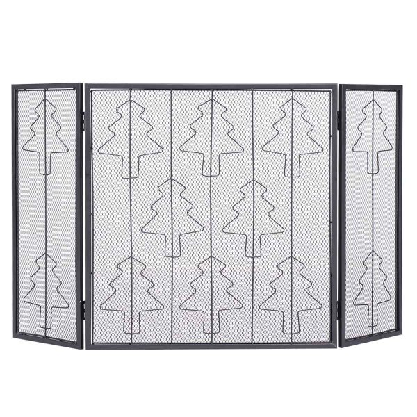 Goplus Folding 3 Panel Steel Fireplace Screen Doors Heavy Duty Christmas Tree Decor