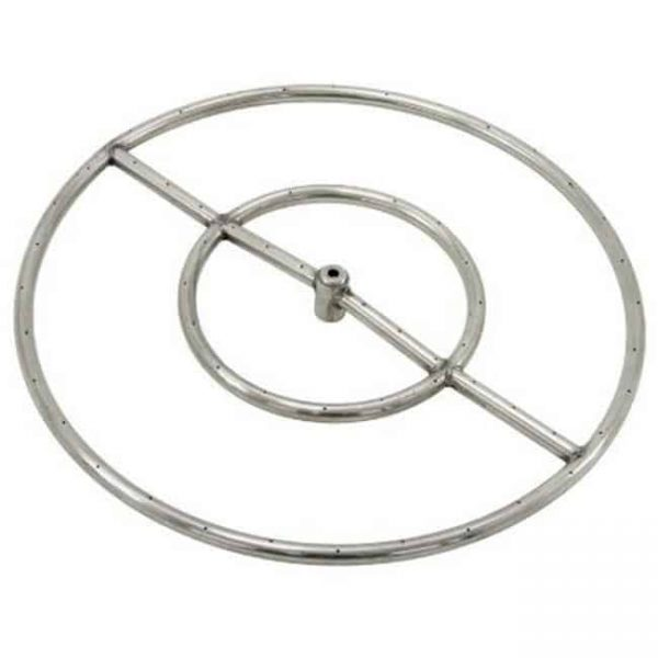 Grand Canyon Gas Logs FRS24 Stainless Steel Double Fire Ring 0.5 in. Hub