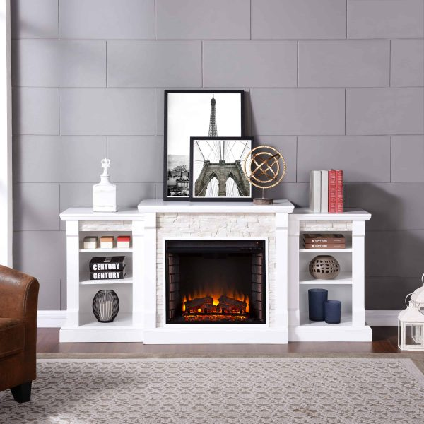 """Grand Heights Faux Stone Electric Fireplace, For TV's up to 36"""", White 9"""