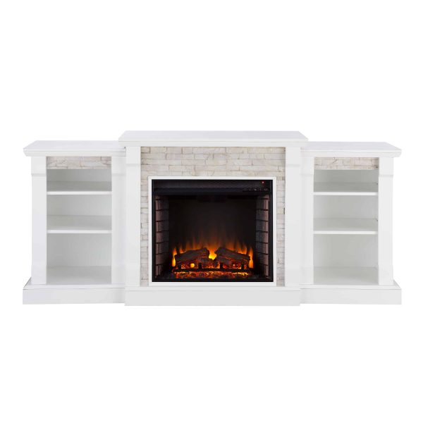 """Grand Heights Faux Stone Electric Fireplace, For TV's up to 36"""", White 12"""