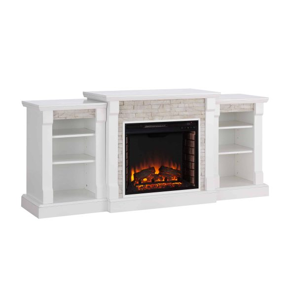 """Grand Heights Faux Stone Electric Fireplace, For TV's up to 36"""", White 14"""