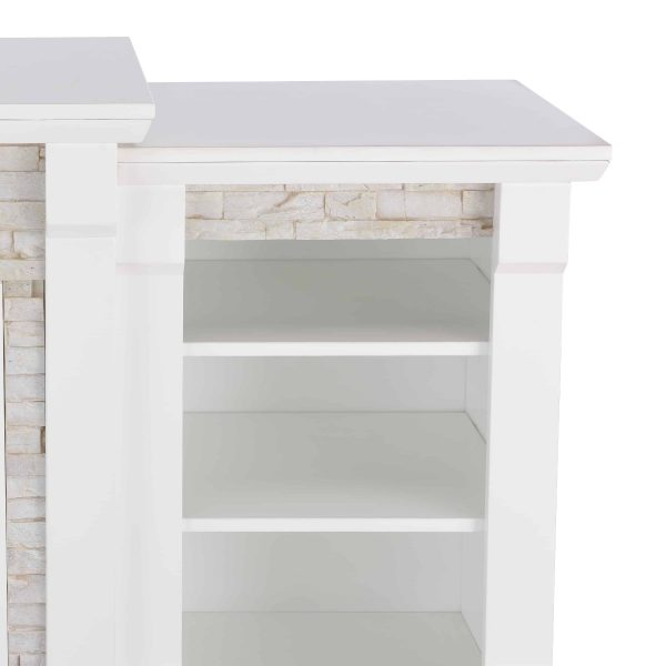"""Grand Heights Faux Stone Electric Fireplace, For TV's up to 36"""", White 19"""
