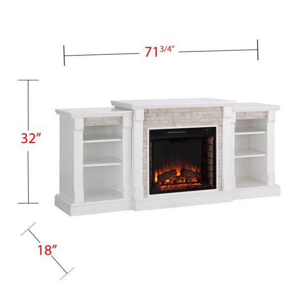 """Grand Heights Faux Stone Electric Fireplace, For TV's up to 36"""", White 5"""