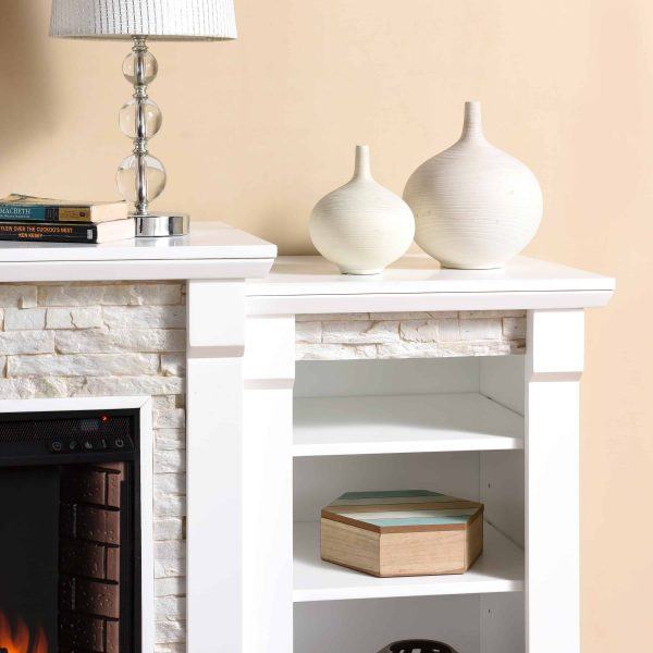 """Grand Heights Faux Stone Electric Fireplace, For TV's up to 36"""", White 7"""
