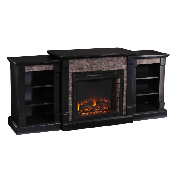 Grand Heights Faux Stone Low Profile Electric Fireplace 11