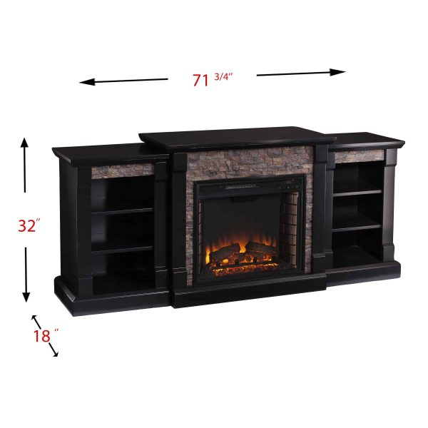 Grand Heights Faux Stone Low Profile Electric Fireplace 4