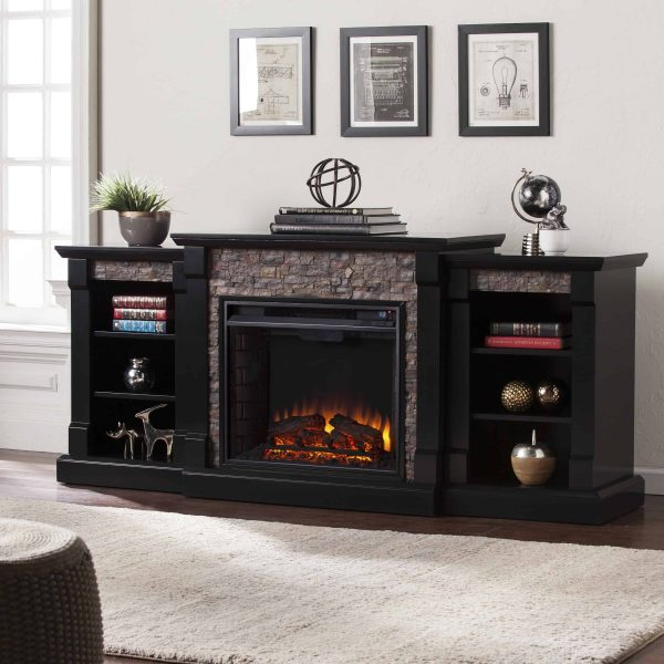 Grand Heights Faux Stone Low Profile Electric Fireplace