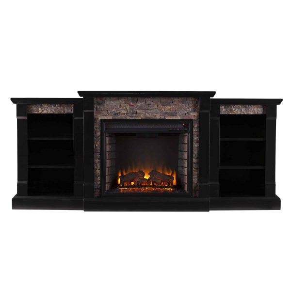 Grand Heights Faux Stone Low Profile Electric Fireplace 9