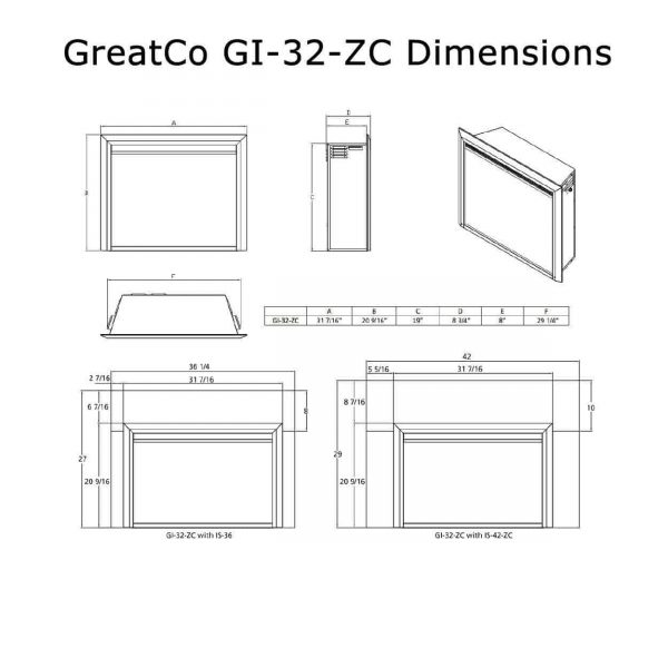 """GreatCo Electric Zero Clearance Fireplace Insert, 32"""" 1"""
