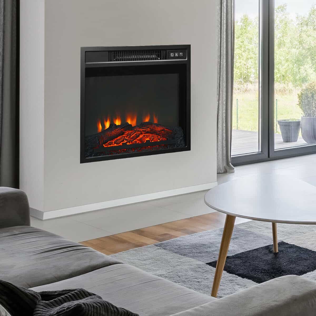 """18/"""" Electric Fireplace Freestanding /&Wall-Mounted Heater Log Flame Remote 1400W"""