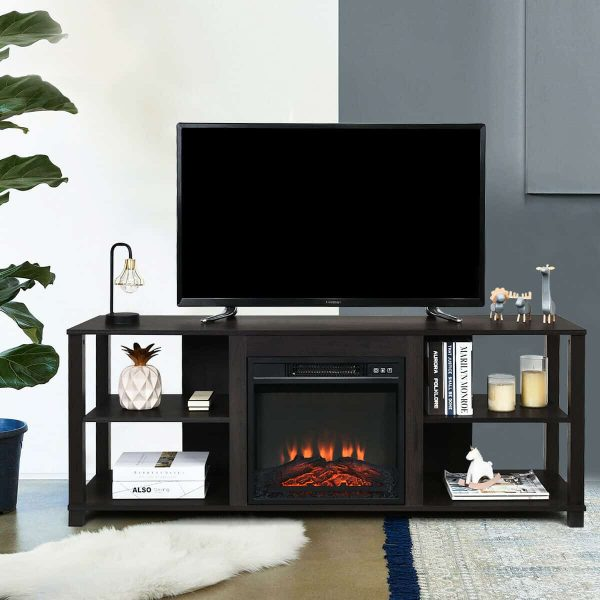 "Gymax 18"" Electric Fireplace Freestanding &Wall-Mounted Heater Log Flame Remote 1400W 5"