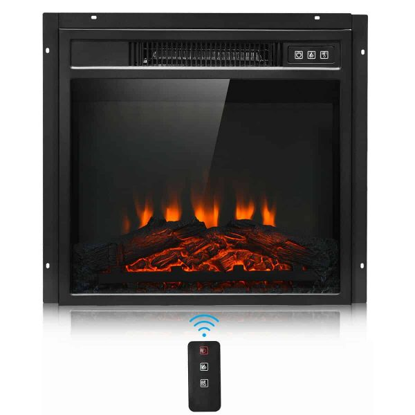 "Gymax 18"" Electric Fireplace Freestanding &Wall-Mounted Heater Log Flame Remote 1400W"
