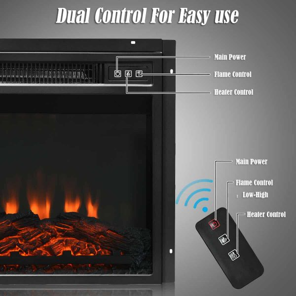 "Gymax 18"" Electric Fireplace Freestanding &Wall-Mounted Heater Log Flame Remote 1400W 7"