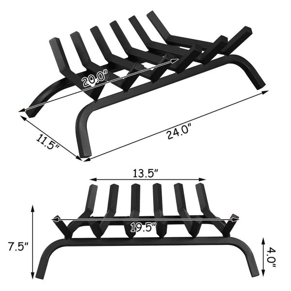 Gymax 24'' Iron Fireplace Log Grate 3/4'' Heavy Duty Solid Steel Firewood Burning Rack 1