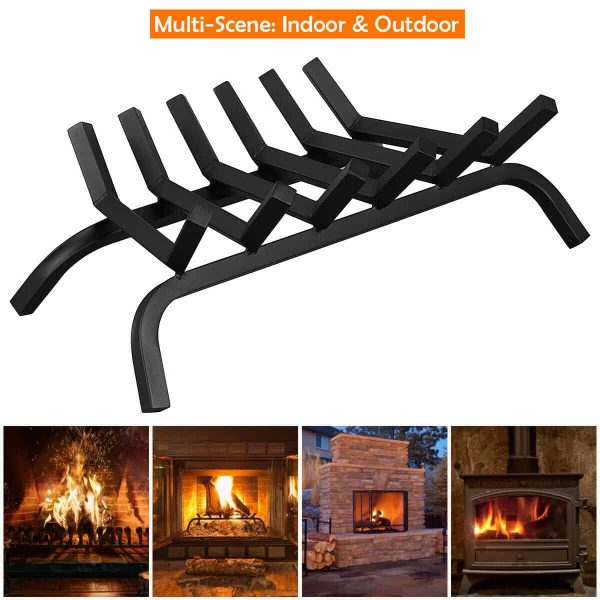 Gymax 24'' Iron Fireplace Log Grate 3/4'' Heavy Duty Solid Steel Firewood Burning Rack 4