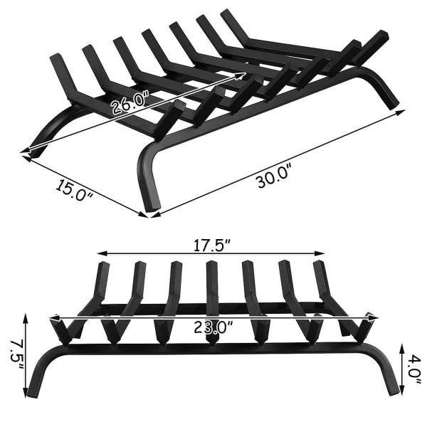 Gymax 30'' Iron Fireplace Log Grate 3/4'' Heavy Duty Solid Steel Firewood Burning Rack 1