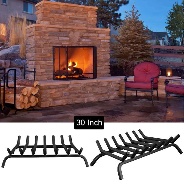 Gymax 30'' Iron Fireplace Log Grate 3/4'' Heavy Duty Solid Steel Firewood Burning Rack 3