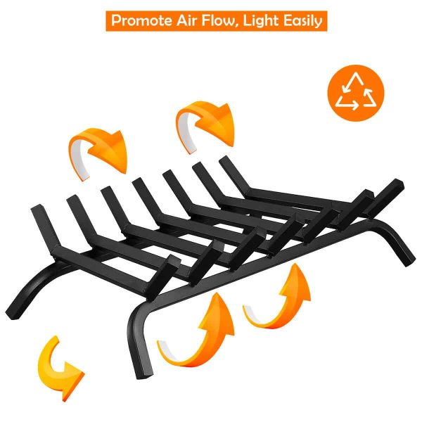 Gymax 30'' Iron Fireplace Log Grate 3/4'' Heavy Duty Solid Steel Firewood Burning Rack 5