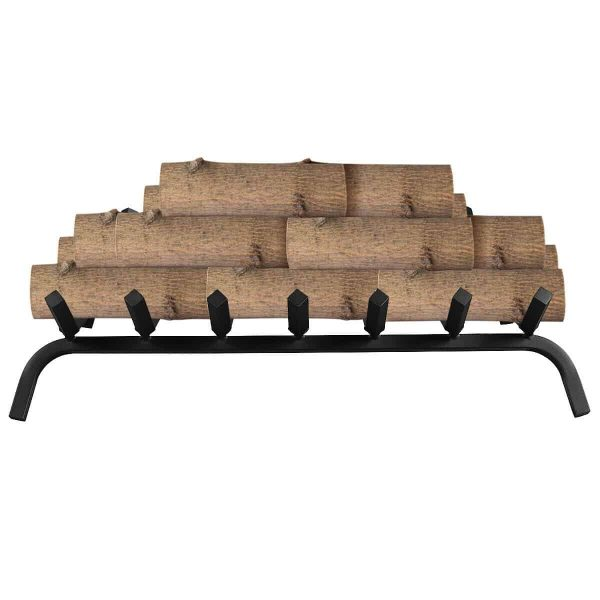 Gymax 30'' Iron Fireplace Log Grate 3/4'' Heavy Duty Solid Steel Firewood Burning Rack 7