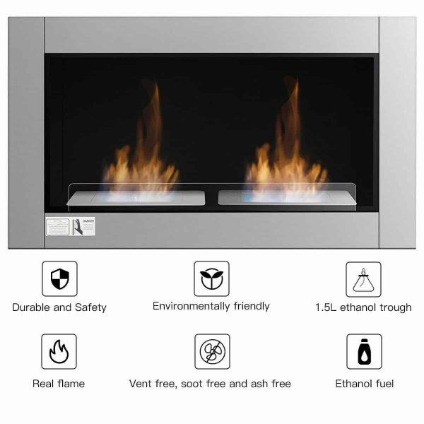 Gymax 38 Inch Wall Mounted Bio-Ethanol Fireplace Ventless Dual Burner Fireplace 3