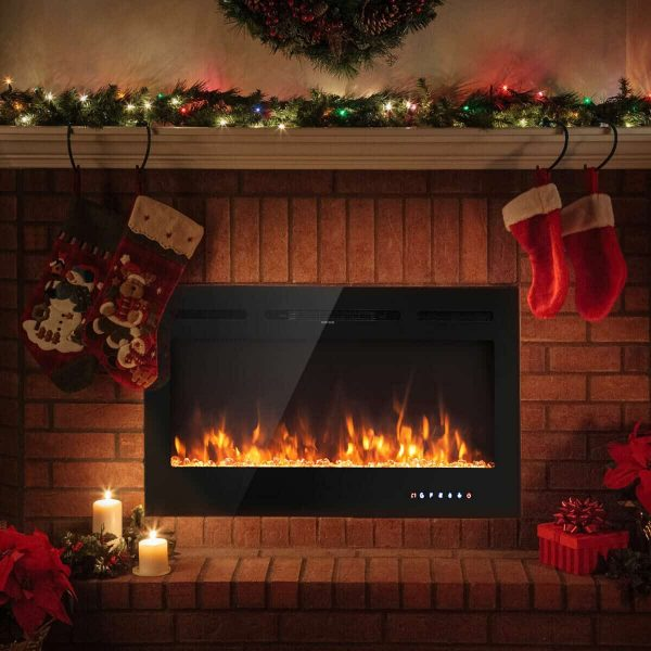 Gymax 40'' Electric Fireplace Recessed and Wall Mounted 750W/1500W W/ Multicolor Flame 2
