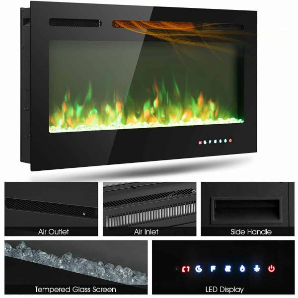 Gymax 40'' Electric Fireplace Recessed and Wall Mounted 750W/1500W W/ Multicolor Flame 5