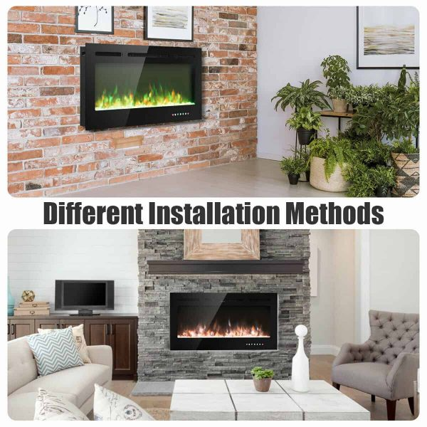 Gymax 40'' Electric Fireplace Recessed and Wall Mounted 750W/1500W W/ Multicolor Flame 6