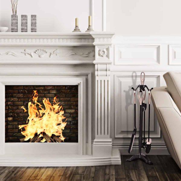 Gymax 5 PCS Hearth Tool Fireplace Set Fire Tools Set 1