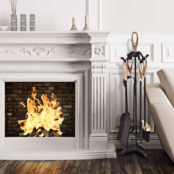 Gymax 5 PCS Hearth Tool Fireplace Set Fire Tools Set Black Brass Home 3