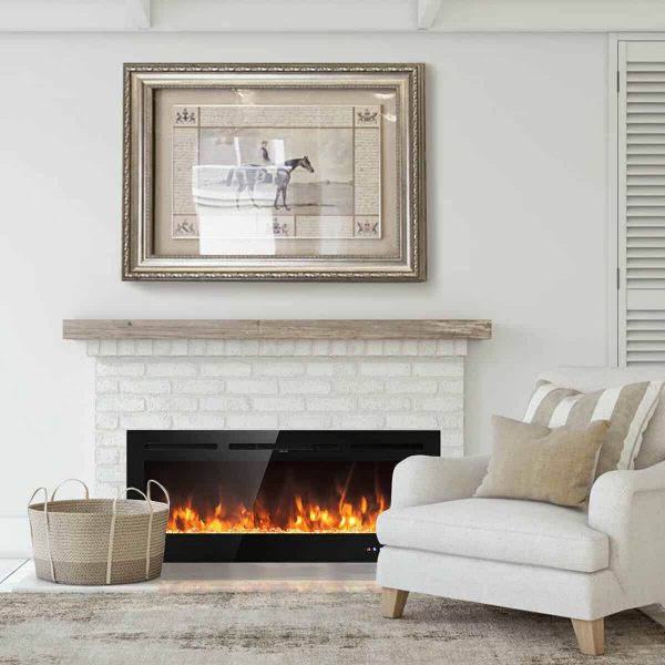 Gymax 50'' Electric Fireplace Recessed and Wall Mounted 750W/1500W W/ Multicolor Flame 3