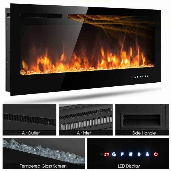 Gymax 50'' Electric Fireplace Recessed and Wall Mounted 750W/1500W W/ Multicolor Flame 5