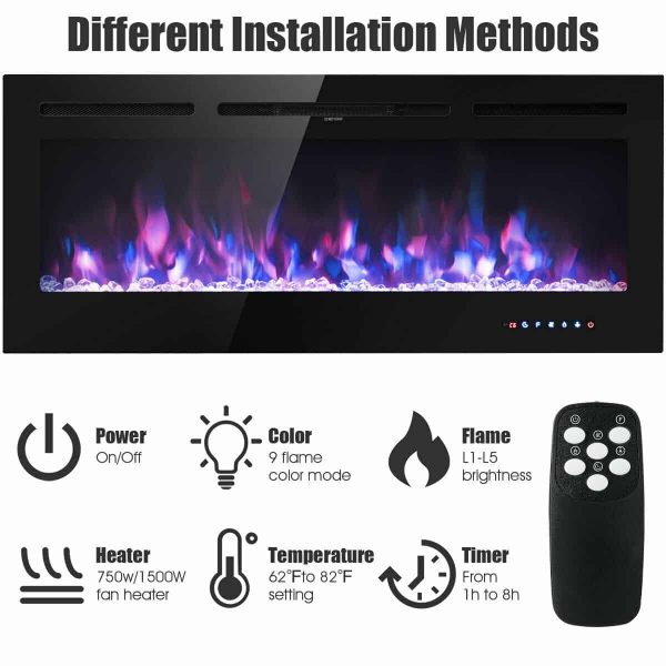 Gymax 50'' Electric Fireplace Recessed and Wall Mounted 750W/1500W W/ Multicolor Flame 6