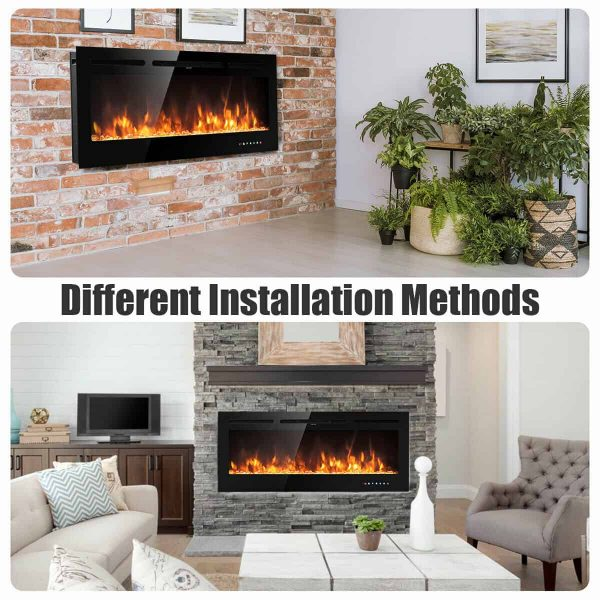 Gymax 50'' Electric Fireplace Recessed and Wall Mounted 750W/1500W W/ Multicolor Flame 7