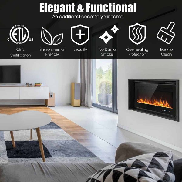 Gymax 50'' Electric Fireplace Recessed and Wall Mounted 750W/1500W W/ Multicolor Flame 8