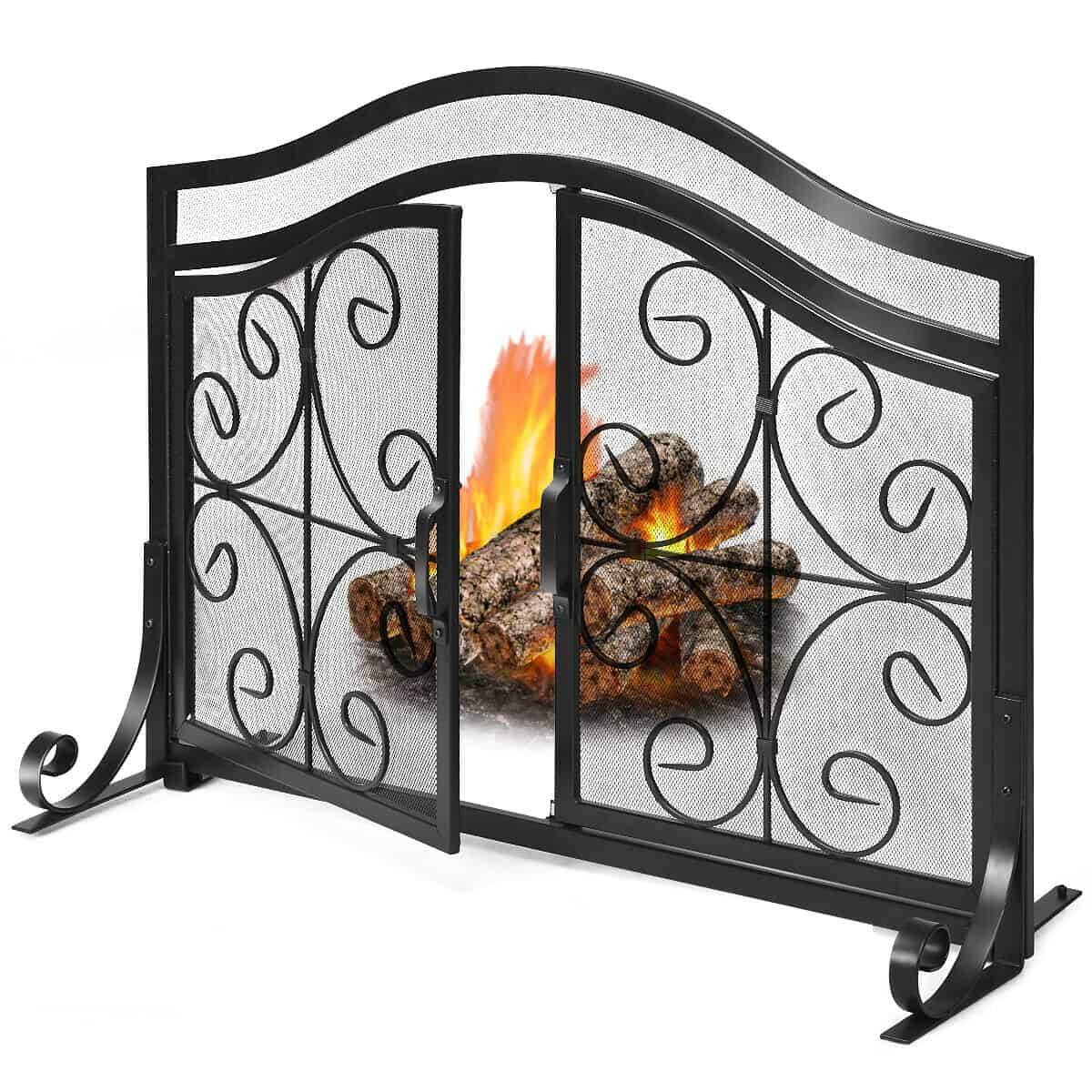 Gymax Fireplace Screen With Hinged Magnetic Two Doors Flat Guard Freestanding Black Fireplacess Com