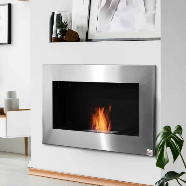 "HOMCOM 35.5"" Contemporary Wall Mounted Ventless Indoor Bio Ethanol Fireplace - Stainless Steel 1"