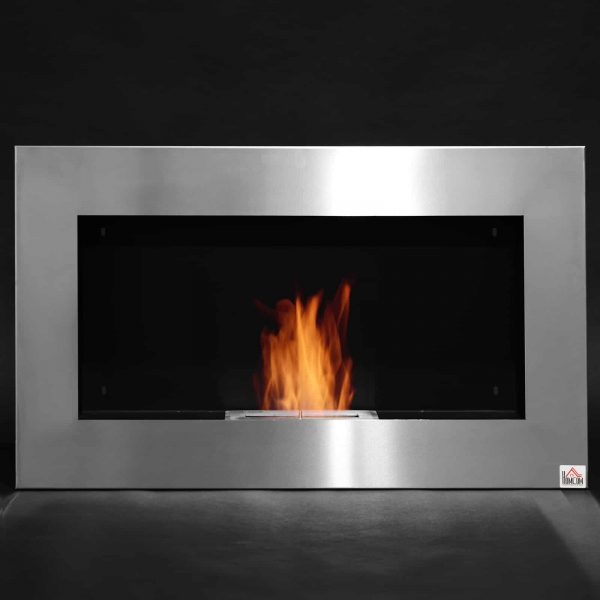 "HOMCOM 35.5"" Contemporary Wall Mounted Ventless Indoor Bio Ethanol Fireplace - Stainless Steel 2"