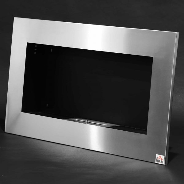 "HOMCOM 35.5"" Contemporary Wall Mounted Ventless Indoor Bio Ethanol Fireplace - Stainless Steel 4"