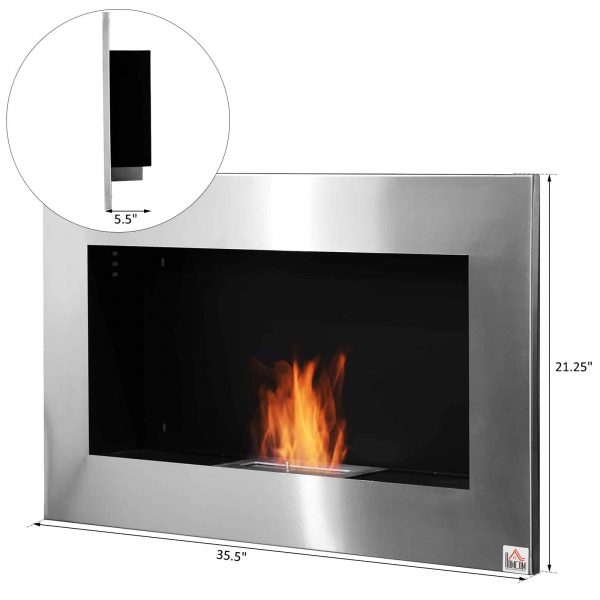 "HOMCOM 35.5"" Contemporary Wall Mounted Ventless Indoor Bio Ethanol Fireplace - Stainless Steel 6"