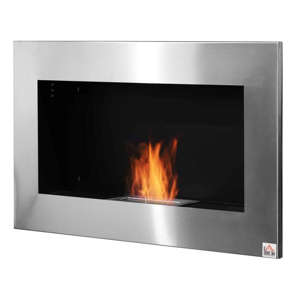 "HOMCOM 35.5"" Contemporary Wall Mounted Ventless Indoor Bio Ethanol Fireplace - Stainless Steel"