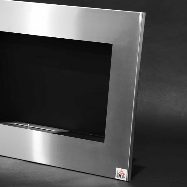 "HOMCOM 35.5"" Contemporary Wall Mounted Ventless Indoor Bio Ethanol Fireplace - Stainless Steel 7"