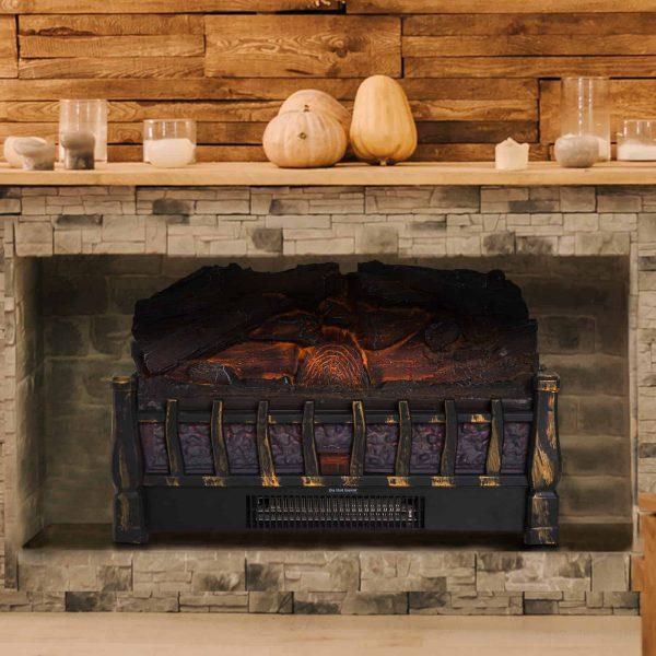HOMCOM 5200 BTU 750W/1500W Electric Log Set Heater with Realistic Ember Bed - Black 1