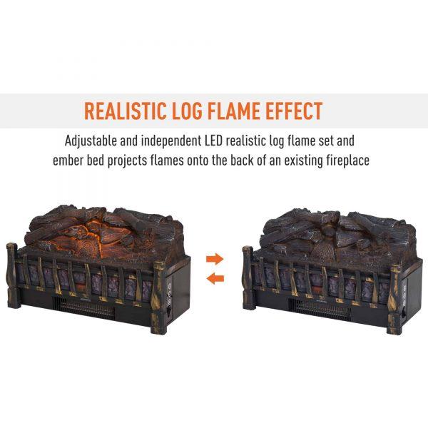 HOMCOM 5200 BTU 750W/1500W Electric Log Set Heater with Realistic Ember Bed - Black 2