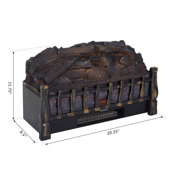 HOMCOM 5200 BTU 750W/1500W Electric Log Set Heater with Realistic Ember Bed - Black 6