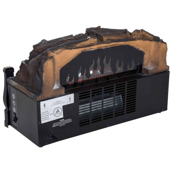 HOMCOM 5200 BTU 750W/1500W Electric Log Set Heater with Realistic Ember Bed - Black 7