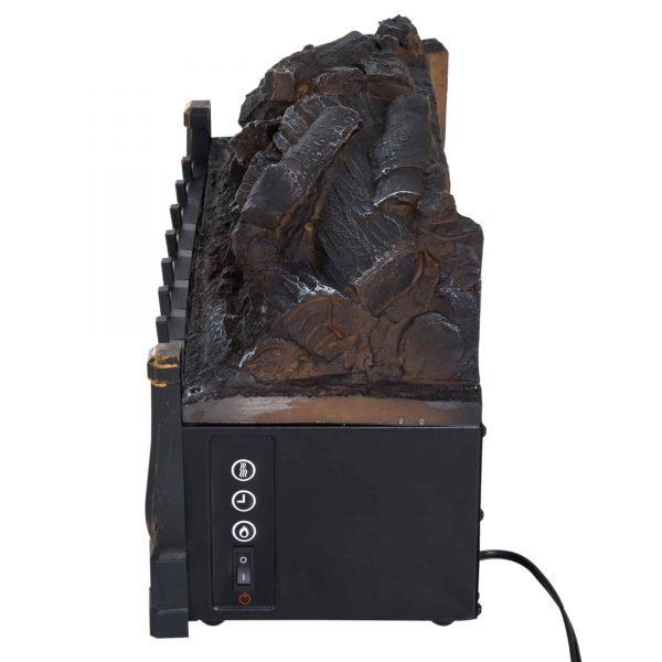 HOMCOM 5200 BTU 750W/1500W Electric Log Set Heater with Realistic Ember Bed - Black 8