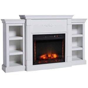 HOMCOM Electric Freestanding Fireplace 1400W Artificial Flame Effect with Detachable Side Cabinets