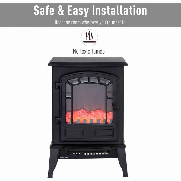 "HOMCOM Freestanding 1500W Steel Electric Fireplace Stove Space Heater Infrared LED, 9.5"" W, Black 1"